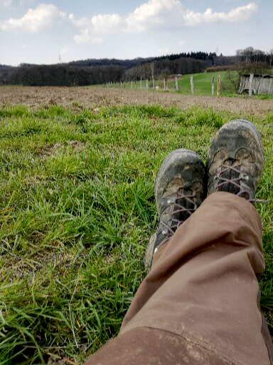 Relaxpause auf dem Kartoffelacker auf dem Bauernhof